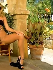 Alexus Winston in Sexy Babe on Patio shows Pink